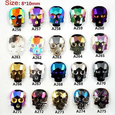 New 3D Alloy Skull Rhinestone Crystal Nail Art DIY Decorations