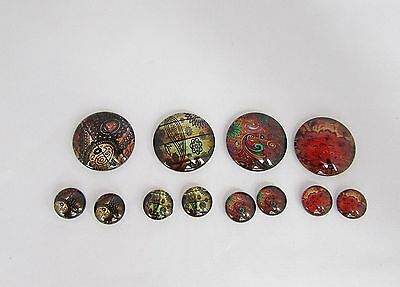 4 x 25mm and 8 x 12mm Handmade Glass Cabochons  - N
