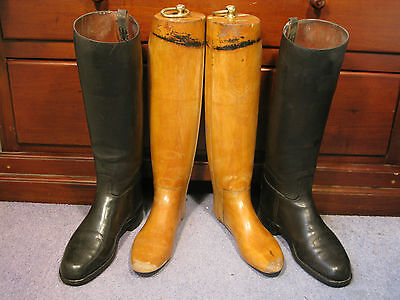 Riding Boots Vintage Long Leather Sz8 Hunting Equestrian Wood Trees Lasts