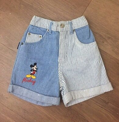 Vintage Disney's Mickey Mouse Toddlers 2T Denim Jean Shorts Unisex Striped