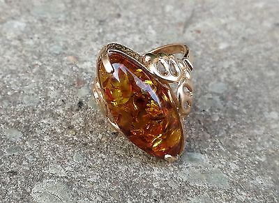 Vintage Russian Solid Gold 583 14K RING WITH AMBER 100% original!