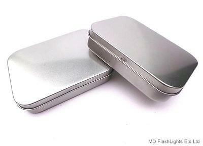2 x MINI SILVER HINGED STORAGE TIN TOBACCO BUSHCRAFT SURVIVAL SEWING KIT TINS