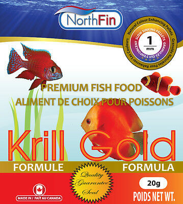 NORTHFIN KRILL GOLD 1 mm 20g 85% Whole Antarctic Krill Cichlid Discus Pellets