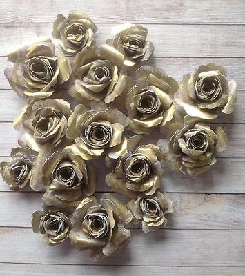 Gorgeous Vintage Gilded Handmade Paper Roses,Gold, Silver, Copper ,Crafts