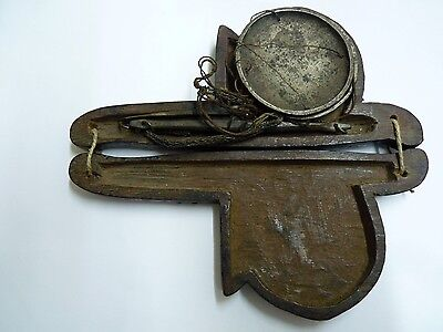 Antique Brass Chinese Opium Weighing Scales L 11.8 cm, Engraved Wooden Container