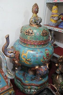 "66""Chinese Cloisonne Enamel Bronze Elephant Handle Incense Burner Censer Statue"