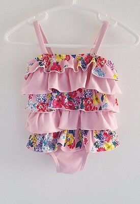 MONSOON Baby Girls Swimming Costume Swimsuit Pink Floral Frill 6-12 Months VGC
