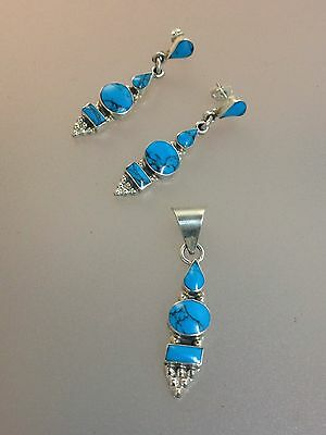 Sterling Silver & Turquoise Pendant & Earring set