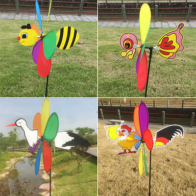 Cute 3D Large Animal Bee Windmill Wind Spinner Whirligig Yard Garden Decor