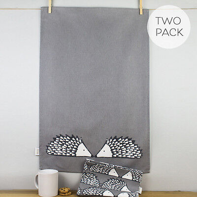 New Dexam Scion Living Spike Hedgehog Grey 100% Cotton Tea Towels Pack Set of 2