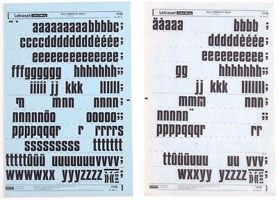 2 x LETRASET Rub On Letter Transfers COMPACTA BOLD: 84pt  #1119 used 1972