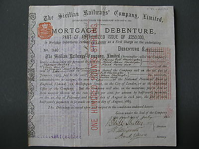 1885 ITALY The Sicilian Railways' Company Ltd Mortgage Debenture £100 London UK