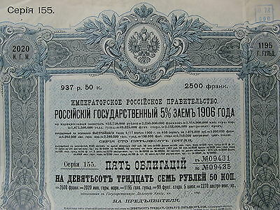 1906 5 bonds Imperial Russian Government state Loan 937,50 roubles Russie Russia