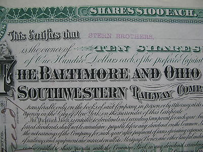 1894 Baltimore Ohio Southwestern Railway Co 10 SHARES Certificate Stern Brothers
