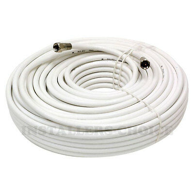 25ft Coaxial Coax Cable Wire Cord Satellite TV Dish White