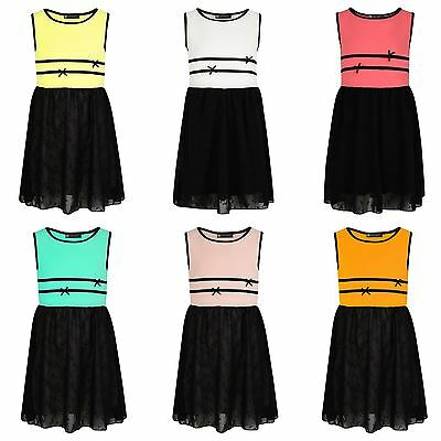 Girls Embroidered Skirt Dress Chiffon Skater Textured Casual Summer Top 3-14 Y