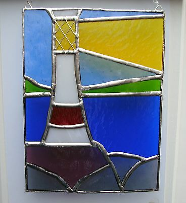 Stained Glass Lighthouse Panel