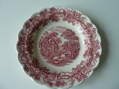 """Vintage 8.5"""" Frilled Edge/pink&white Booths 'british Scenery' Dish,cows Grazing"""