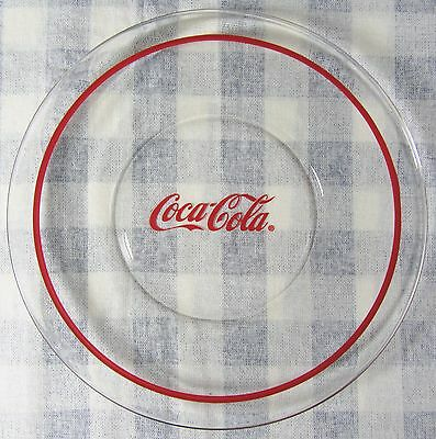 "Vintage 8"" Coca-Cola Clear Glass Plate w/ Red Band Banded Rim Coke"