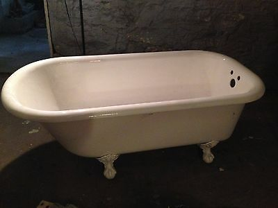 Vintage Refinished White 5' Roll Top Claw-Foot Cast Iron Bathtub