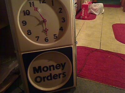 vintage world service money orders lighted clock sign