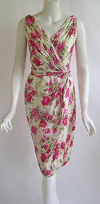 vtg 1950s CEIL CHAPMAN silk floral bombshell couture wiggle cocktail dress