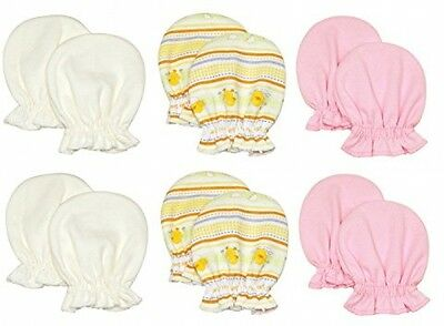 Liwely 6 Pairs Baby Girls Mittens, 100% Cotton, Solid Ivory/Light Pink/Duck