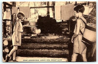 Postcard OH Akron Camp Ledgewood Girl Scouts GSA Camp  B35