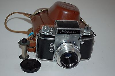 EXA Ihagee Dresden SLR & Meritar 2.9/50 Lens. Cap & Case.Good Condition. 569664