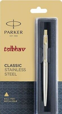 Parker Classic Stainless Steel GT Ball Point Pen BP New Gold Trim Jotter Vector