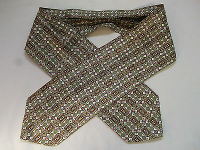 Cravat Vintage 60S 70S Mod Scooter Cream Olive Red Yellow Pattern