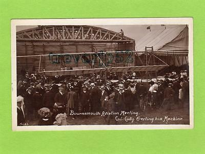 Bournemouth Aviation Meeting Colonel Cody erecting Flying machine unused RP pc