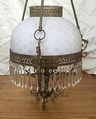 Antique Cranberry Victorian GWTW Parlor Library Kero Lamp Chandelier Crystal