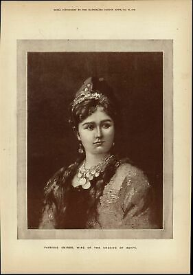 Princess Emineh Wife of Khedive of Egypt nice 1882 great old print for display