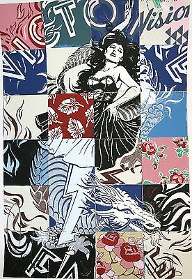 FAILE VISION VICTOIRE Screenprint HAND SIGNED + STICKERS BANKSY,SHEPARD FAIREY