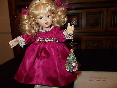Marie Osmond Tiny Tots Helena Doll COA + Necklace + Stand + Ornament Accessory