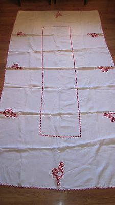 Vintage Red Gingham Rooster Applique Kitchen Tablecloth 98 x 49
