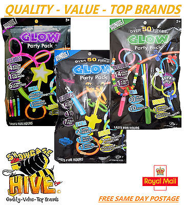 Glow In The Dark Party Pack Over 50Pcs Fun & Easy To Use Last For Hours Bonus