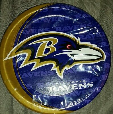 Ravens NFL Party Plates, pack of 8, Size 8 3/4 inches, Dinner size, Purple Gold