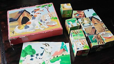 Vintage Wooden Cube Blocks Picture Puzzle FARM ANIMALS Jigsaw 1950 60s
