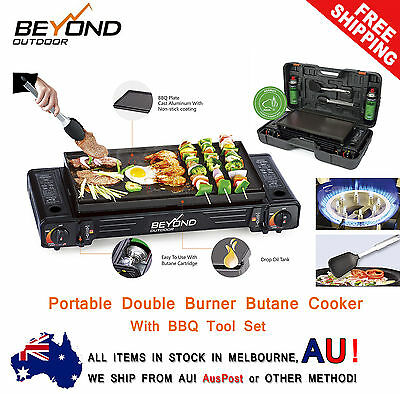 PRE SALE NEW Portable Double (Twin) Gas Camping Butane Burner Cooker + BBQ Tools