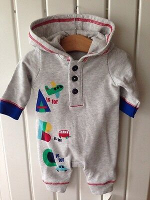 Baby Boy's Clothes Newborn - BNWT Grey Hooded One-Piece Outfit/Set