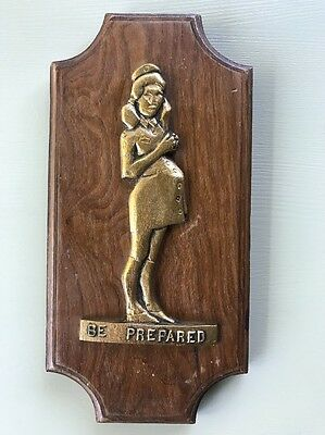 "Vtg ""Be Prepared"" Wall Plaque Art from George Adams Pregnant Girl Scout Poster"