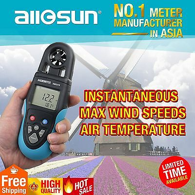 Digital Wind Speed Tester LCD Display Handheld Anemometer Air Flow Temp. Meter