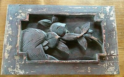 """Antique Chinese Furniture Architectural Hand Carved Wood Panel 6.5""""x10"""""""