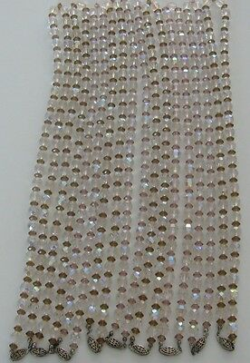 """Necklace 24""""l Vtg.austrian Crystal Beads Round Multifaceted & Bi-Cone,sterling"""