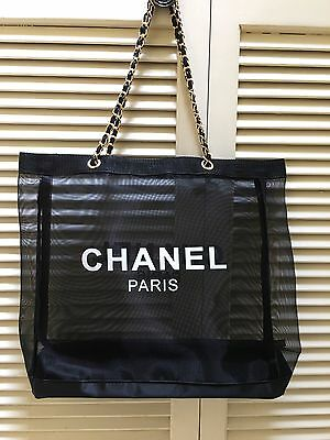 CHANEL Tote Mesh Tote Bag 1705153 Black Leather Gold Chain VIP Gift Brand New