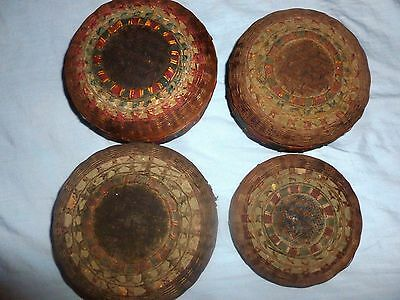 """Antique Baskets. Oriental / Chinese """"Tea Baskets"""" Set of 4, """"Ying Mee"""""""
