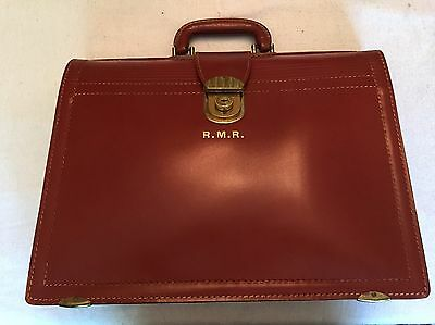 VINTAGE REXBILT SPLIT COWHIDE  BROWN LEATHER BRIEFCASE BRIEF BAG key