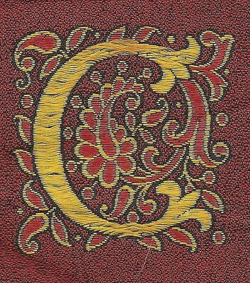"""Vintage/antq woven silk embroidered - Letter """"C"""" - use in crazy quilt applique"""